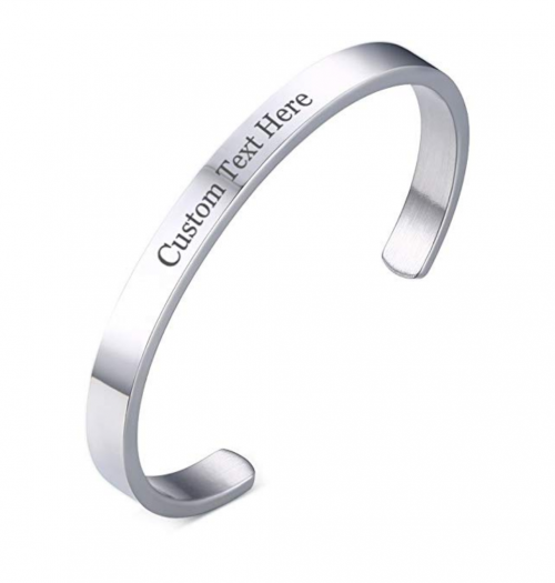 XUANPAI 6MM Initial, Name, Date, Stainless Steel Cuff Bangle Bracelet for Women and Men