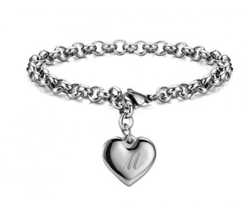 Monily Initial Charm Bracelets Stainless Steel Heart 26 Letters Alphabet Bracelet