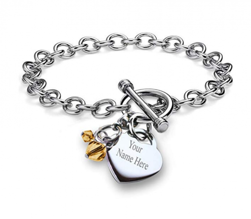 Personalized Customized Charm Bracelet Simulated Birthstone Crystal Charm Heart Toggle Stainless Steel