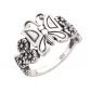 CloseoutWarehouse Sterling Silver Butterfly Flower Ring
