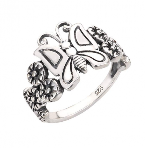 CloseoutWarehouse Sterling Silver Butterfly Flower Forever Ring