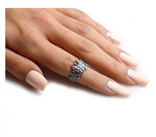 cocktail ringSterling Silver Butterfly Flower Forever Ring