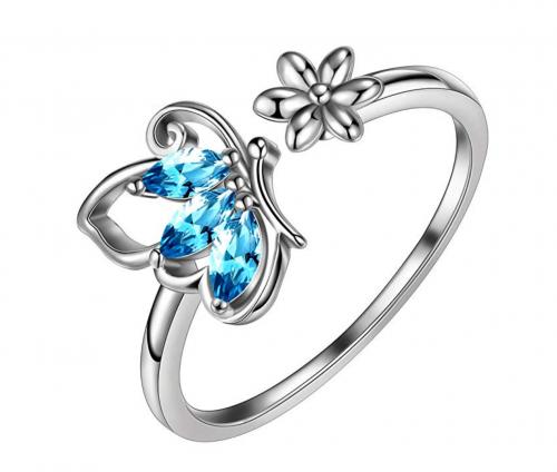 Aurora Tears Butterfly Jewelry Women 925 Sterling Silver Butterflies Ring