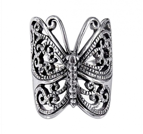 MIMI 925 Sterling Silver Large Victorian Butterfly Ring