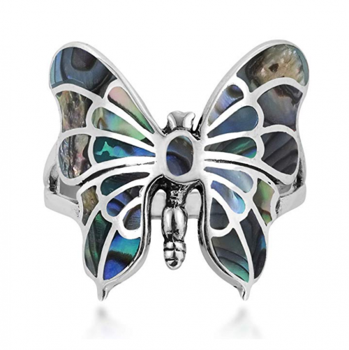 AeraVida Exotic Graceful Butterfly Abalone Shell Inlay .925 Sterling Silver Ring