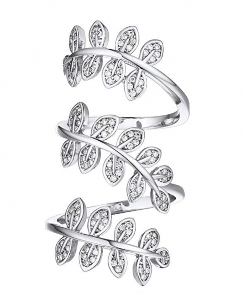 U7 Jewelry Clear CZ 18K Gold Plated Statement Leaf Long Ring