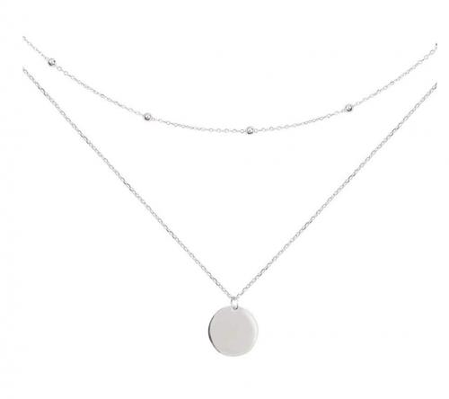 Dtja Layered Disc Pendant Choker Necklace