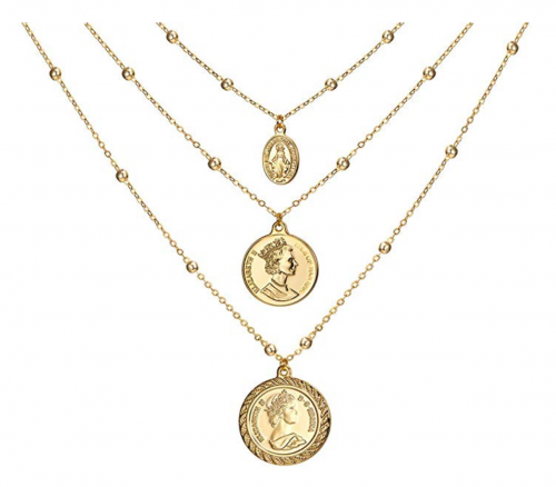 ACC Planet  Coin Pendant vitange Layered Necklace