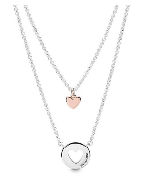 PANDORA Layered Heart PANDORA Rose Necklace