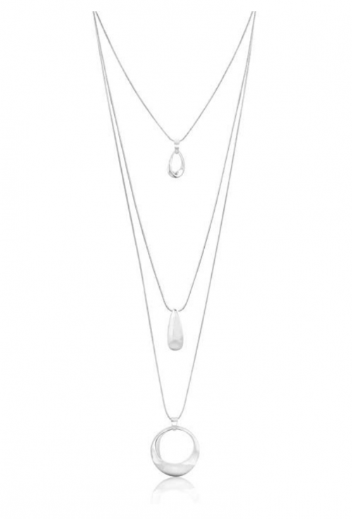 ZAXIE Silver Layered Pendant Necklace