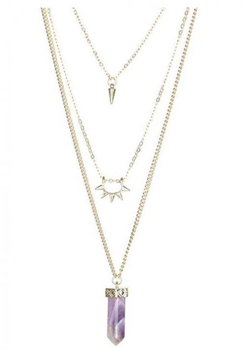 Fettero  Natural Stone Multilayer Pendant Long Chain Necklace