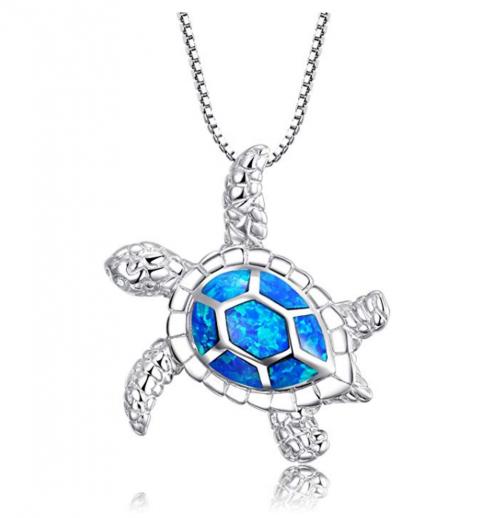 Victoria Jewelry Blue Opal Sea Turtle Necklace
