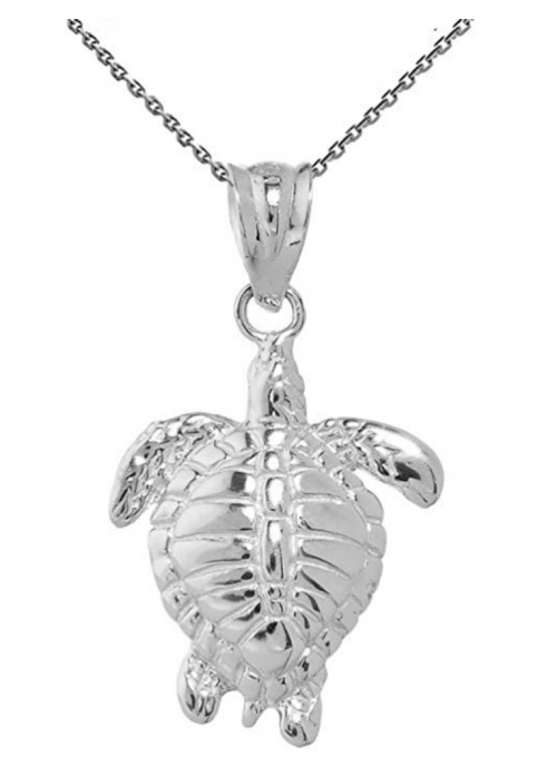 Sea Life Collection Fine Sterling Silver Good Luck Honu Charm Hawaiian Sea Turtle Pendant Necklace