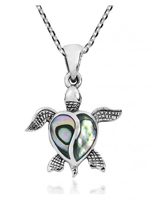 AeraVida Love Life Sea Turtle Heart Abalone Shell .925 Sterling Silver Pendant Necklace
