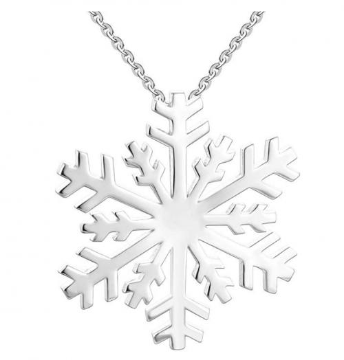 JO WISDOM 925 Sterling Silver White Blue Cubic Zirconia Winter Frozen Snowflake Pendant Necklace