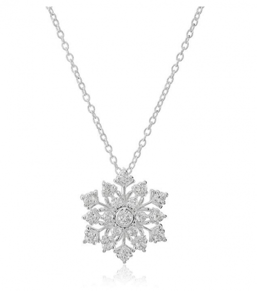 Hallmark Jewelry Sterling Silver Cubic Zirconia Snowflake Pendant Necklace