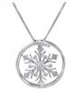 Amanda Rose Collection Diamond Accent Snowflake in Circle Pendant