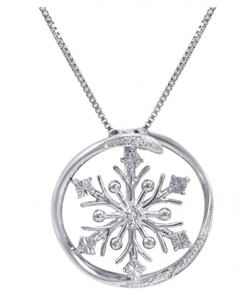 Amanda Rose Collection Diamond Accent Snowflake in Circle Pendant-Necklace