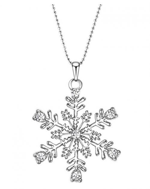 EVER FAITH Austrian Crystal Snowflake Flower Necklace