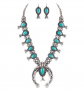 Jayde N' Grey Turquoise Squash Blossom Navajo Necklace & Earrings