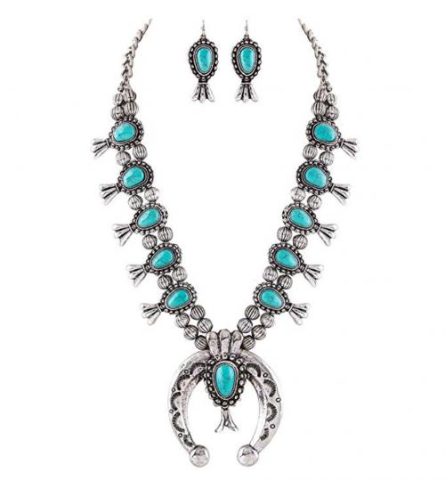Jayde N' Grey Turquoise Squash Blossom Navajo Necklace & Earrings Bundle