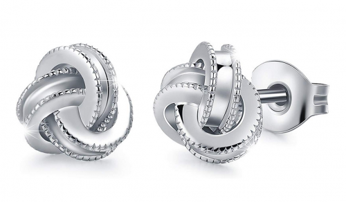 Raneecoco Gold Plated Sterling Silver Studs Love Knot Earrings