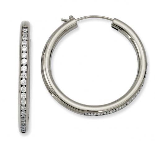 Titanium Cubic Zirconia Round Hoop Earrings, 35mm (1 3/8 in)