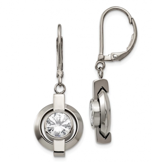 Titanium and Cubic Zirconia Circle Lever Back Earrings