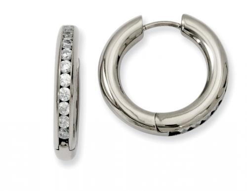 3mm Titanium Cubic Zirconia Hinged Round Hoop Earrings