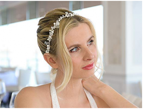 Headband with Silver Flowers