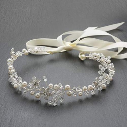 Tiara with Pearls and Satin Ribbon