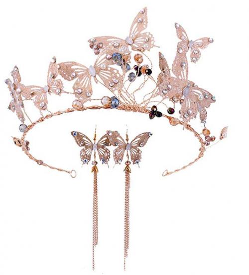 MoGist Beautiful Shiny Bridal Butterfly Headband Earrings Set