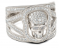 Round Cut Sterling Silver Skull Ring