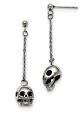 Skull and Chain Dangle Post Earrings