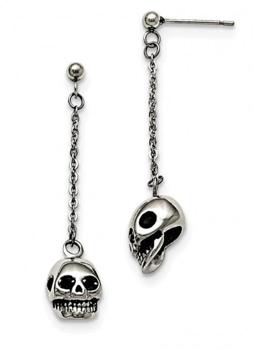 3D Skull and Chain Dangle Post Earrings in Stainless Steel