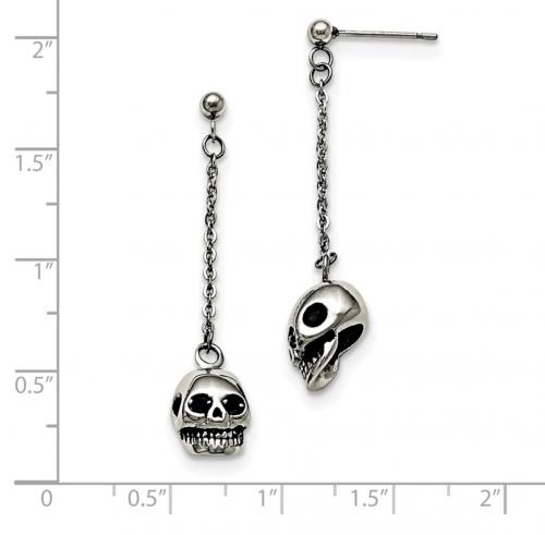 skull earrings size