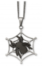 Two-Tone Stainless Steel Spider and Web Necklace