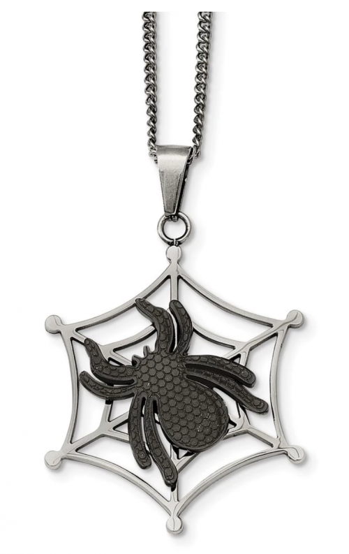 Two-Tone Stainless Steel Spider and Web Necklace 22 Inch