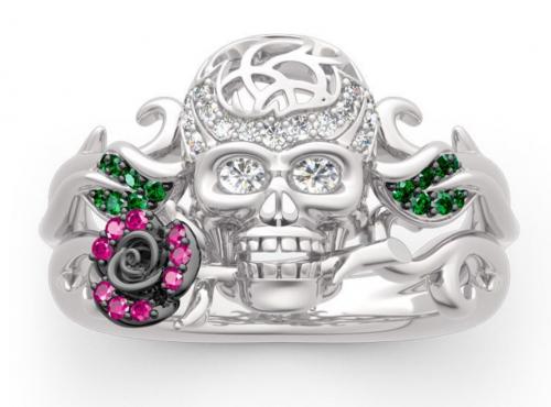 Forever Romance skull rose ring