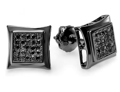 Dazzlingrock Collection 0.15 Carat (ctw) Black Real Diamond Kite Stud Earrings for Men