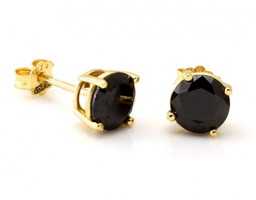 Lanroque 14K Gold Plated Sterling Silver Round-Cut Cubic Zirconia Stud Earrings For Men
