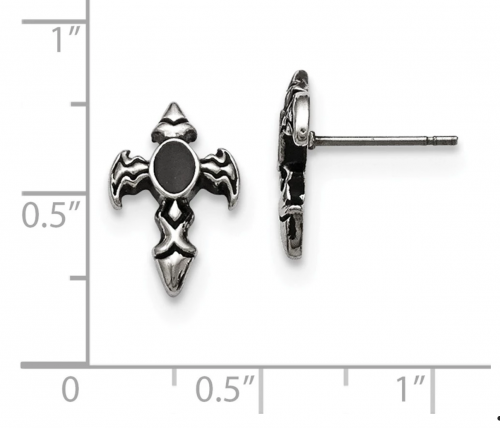 The Black Bow Jewelry Co. Antiqued Dagger Cross Earrings Size