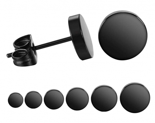 LIEBLICH Black Round Stud Earrings Set