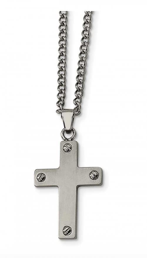 Stainless Steel Four Screw Cross Necklace