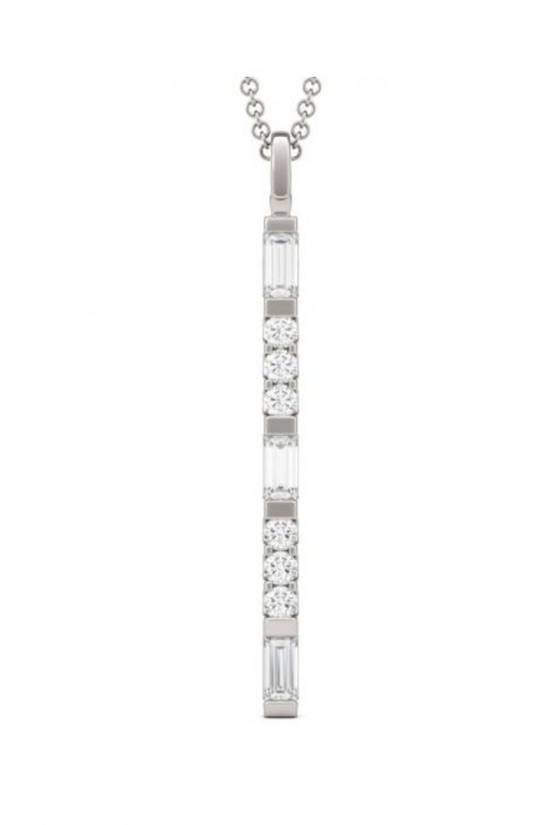 Charles & Colvard Forever One 0.44CTW Baguette Colorless Moissanite Bar Necklace