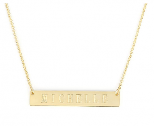 Jeulia Classic Engraved Gold Bar Necklace