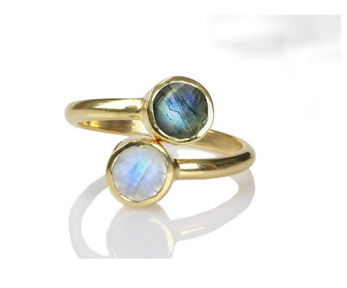Anemone Unique Labradorite-Moonstone Ring