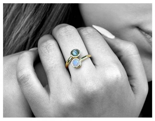 Elegant AA Labradorite-Moonstone Ring by Anemone Unique on model