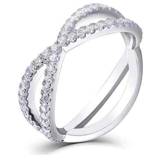 DovEggs Moissanite Eternity Engagement Ring