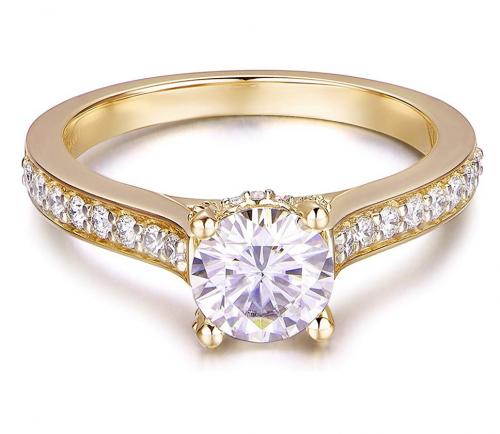 Hafeez Brilliant-Cut Halo Moissanite Engagement Ring Front